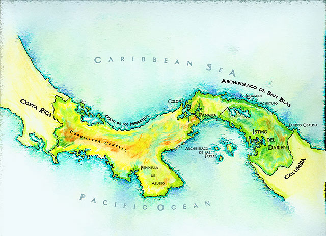 map of costa rica and panama